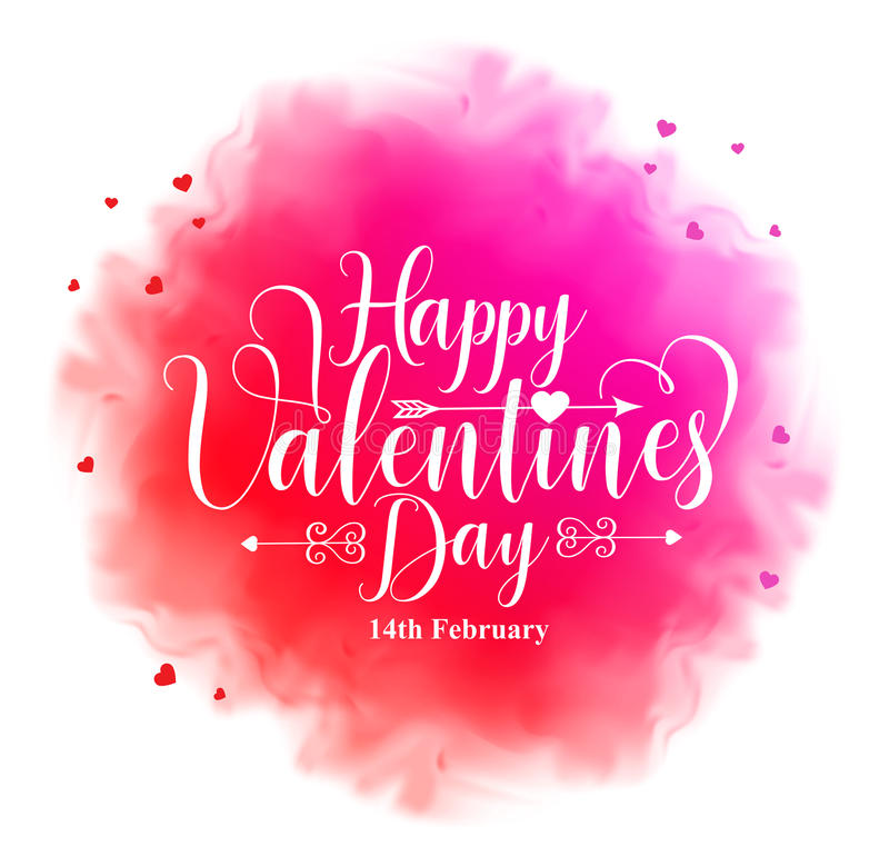 Szczęśliwy valentines dnia kaligrafii tekst w kolorowej akwareli ilustracja wektor