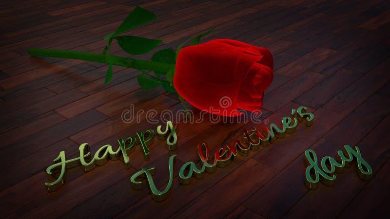 Szczęśliwy valentines dnia temat z czerwieni różą royalty ilustracja