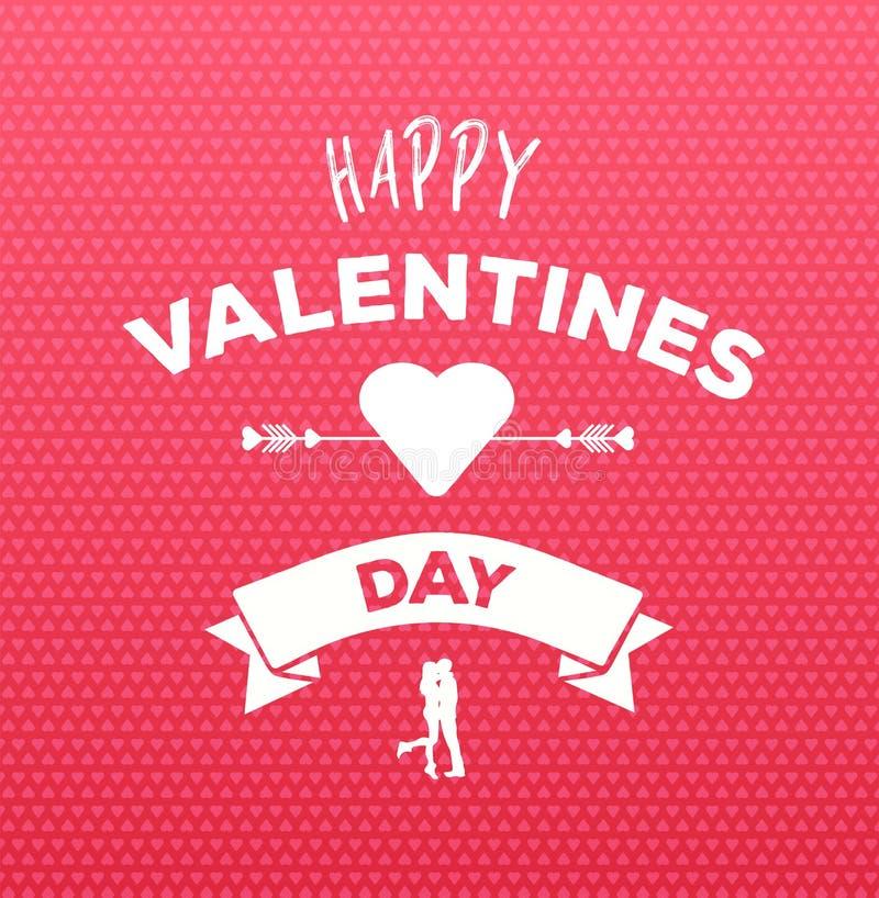 Szczęśliwy valentines dnia wektor na menchia wzorze ilustracji