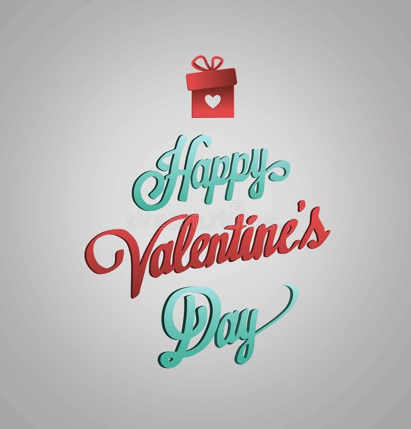Szczęśliwy valentines dnia wektor na popielatym tle royalty ilustracja