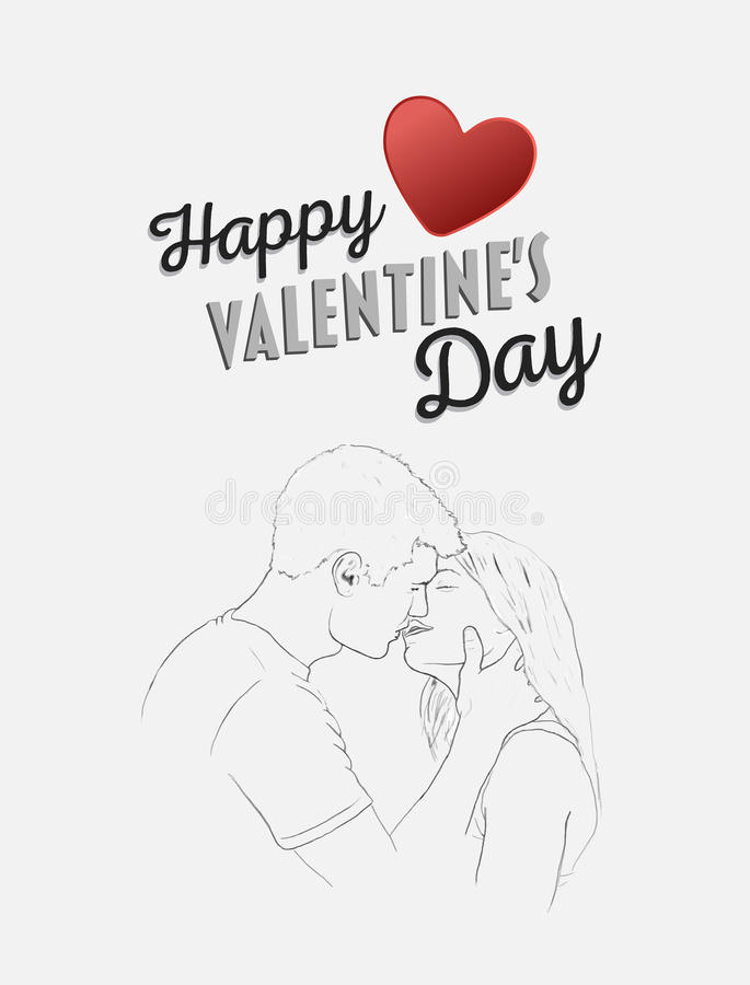 Szczęśliwy valentines dnia wektor z całowanie parą ilustracji