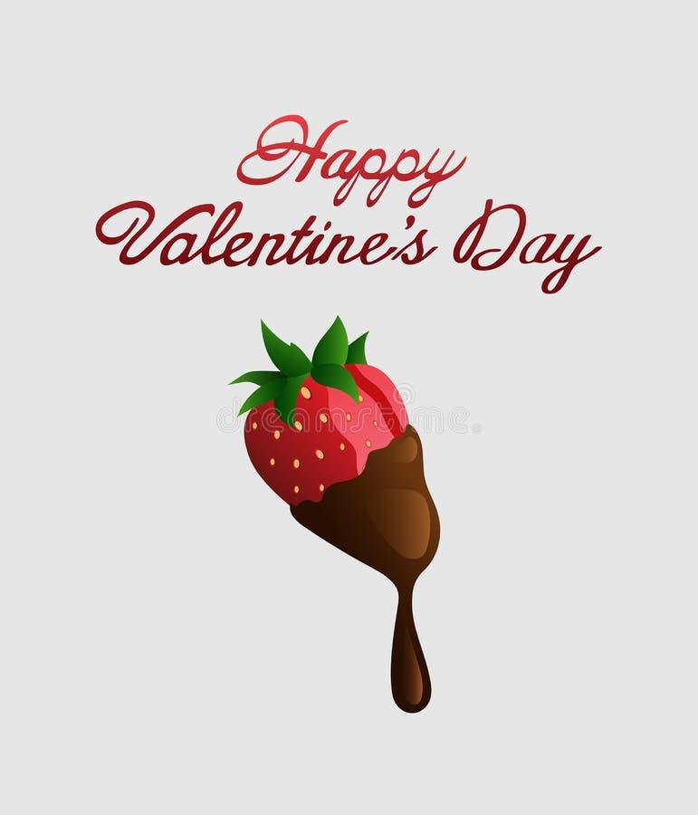 Szczęśliwy valentines dnia wektor z czekoladową truskawką ilustracji