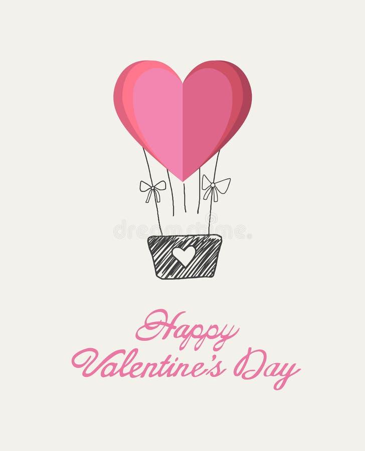 Szczęśliwy valentines dnia wektor z kierowym gorące powietrze balonem ilustracji