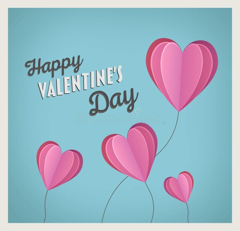 Szczęśliwy valentines dnia wektor z kierowymi balonami ilustracja wektor