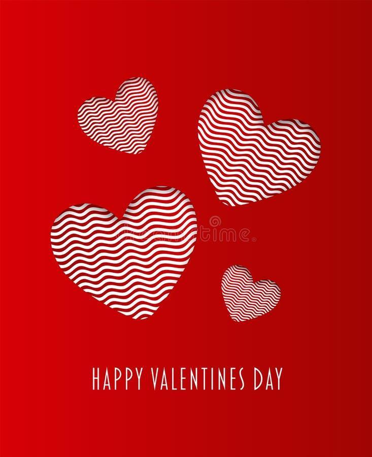 Szczęśliwy valentines dnia wektor z sercami ilustracja wektor