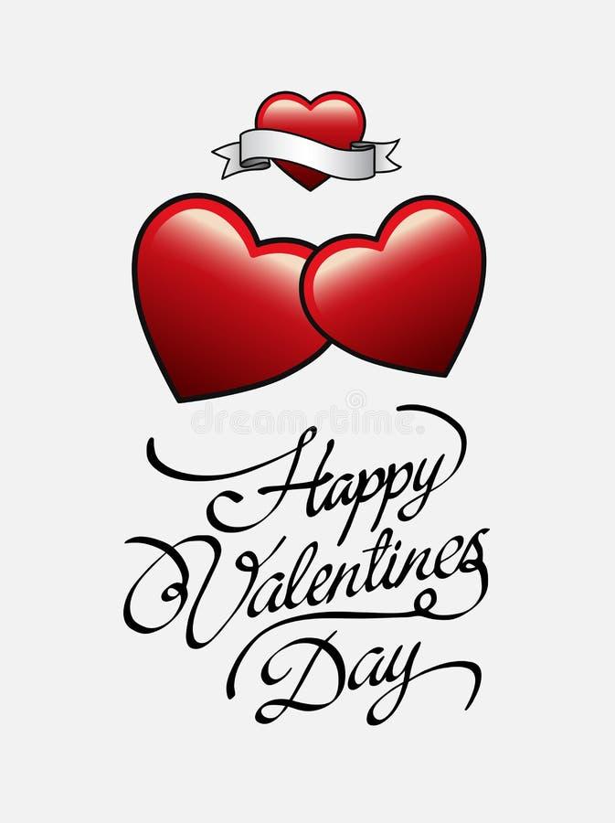 Szczęśliwy valentines dnia wektor z sercami ilustracji