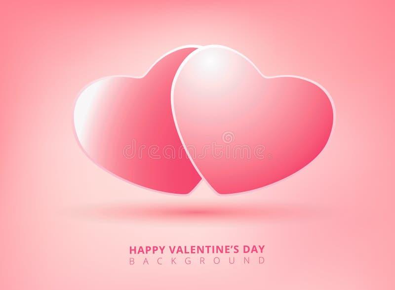 Szczęśliwy valentines dzień na różowym tle z bliźniaczymi sercami wektor royalty ilustracja