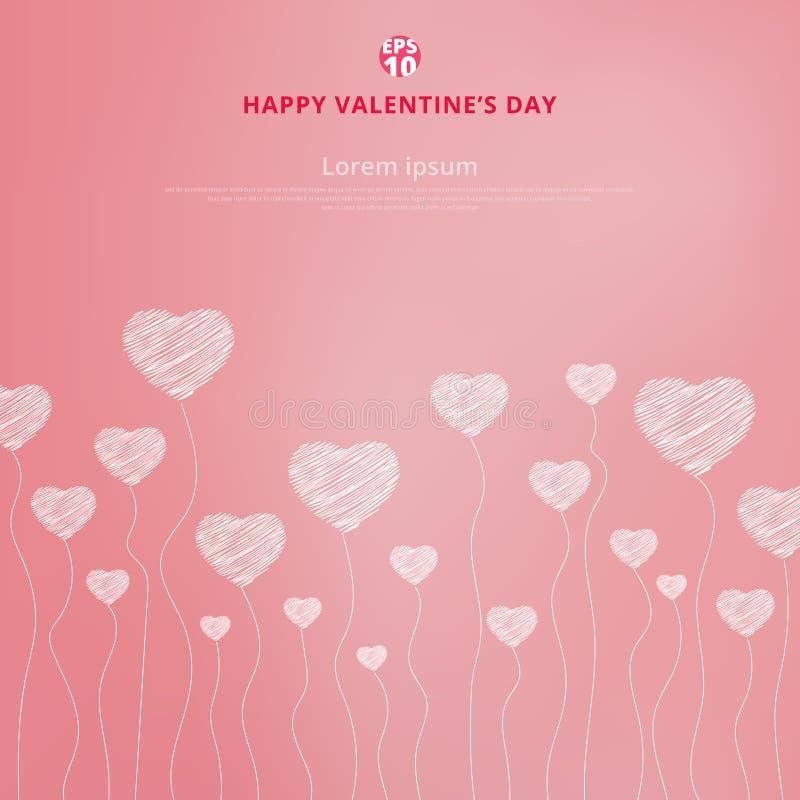 Szczęśliwy valentines dzień z Biała ręka rysującymi sercami na menchiach ilustracja wektor