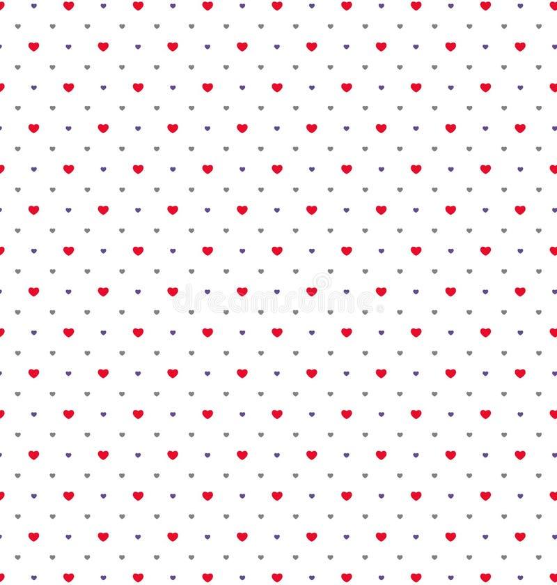 Szczęśliwy valentines dzień z czerwienią, purpury, szary serce wzór na wh ilustracja wektor
