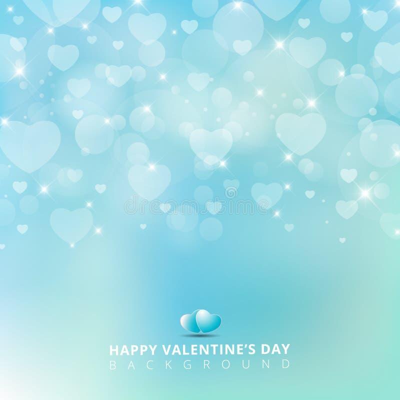 Szczęśliwy valentines dzień z olśniewającym kierowym bokeh na błękitnym tle ilustracja wektor
