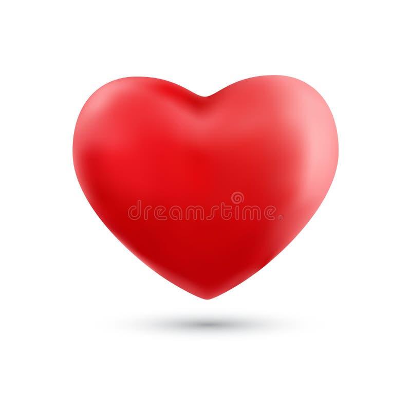 Szczęśliwy valentines dzień z symbolu 3d czerwonym kierowym ballon odizolowywającym dalej ilustracji