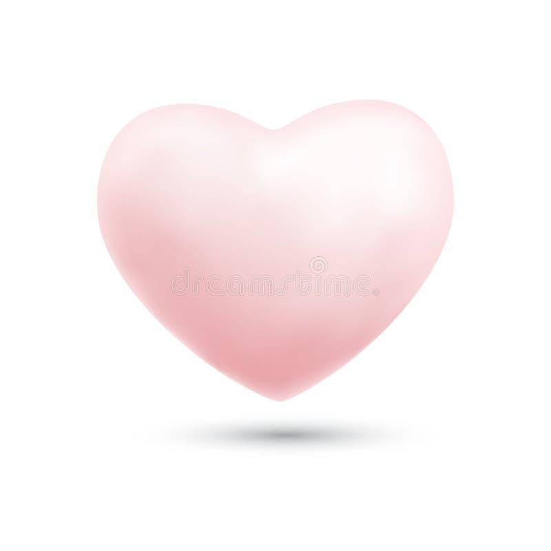 Szczęśliwy valentines dzień z symbolu 3d menchii kierowym ballon odizolowywał o royalty ilustracja