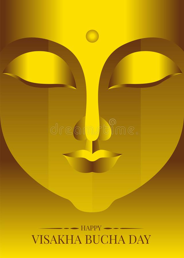 Szczęśliwy visakha bucha Vesak dzień z abstrakcjonistycznej złocistej twarzy Buddha statuy wektorowym projektem ilustracja wektor