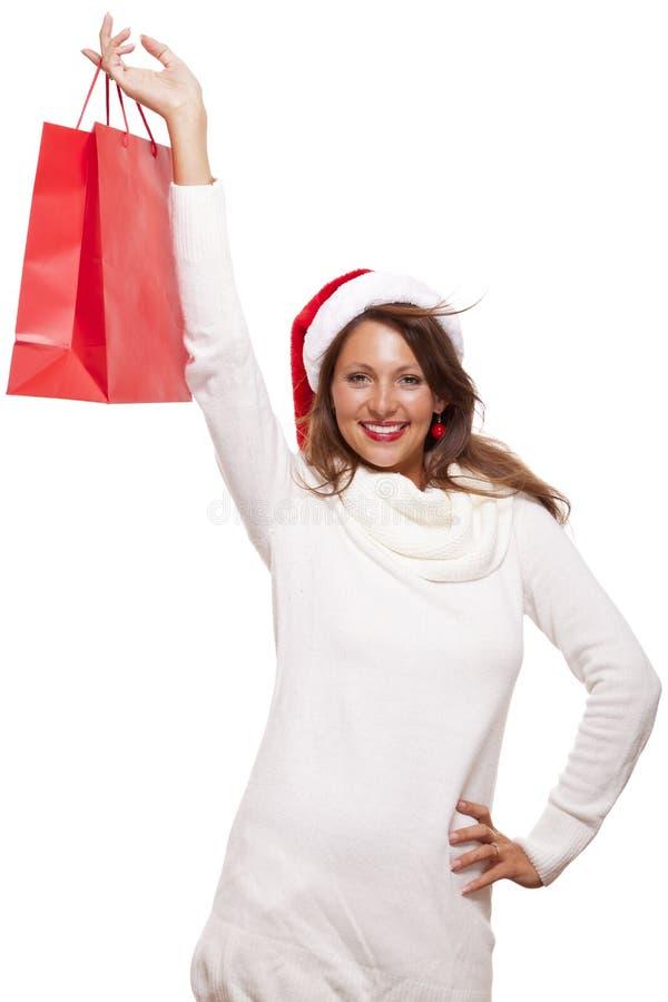 Szczęśliwy vivacious Bożenarodzeniowy kupujący obraz stock