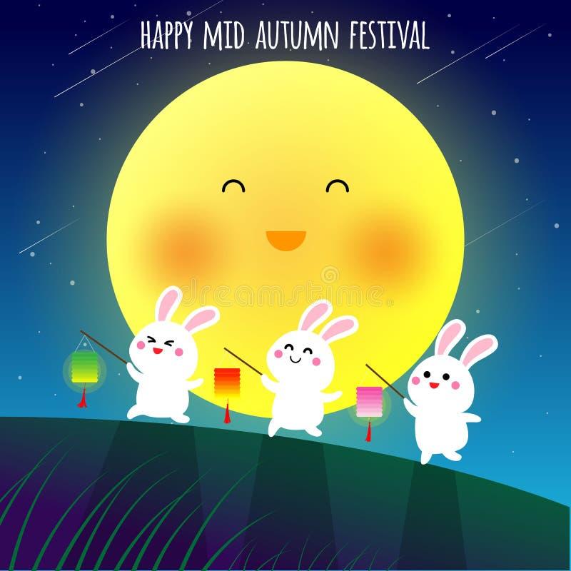 Szczęśliwy w połowie jesień festiwalu illustraion ilustracja wektor