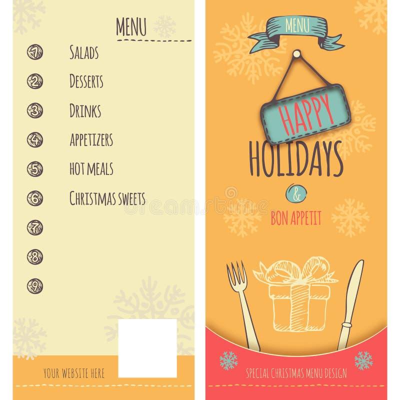 Szczęśliwy wakacje i bożych narodzeń menu ilustracji