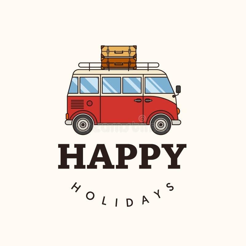 Szczęśliwy wakacje na plażowym płaskim projekcie royalty ilustracja
