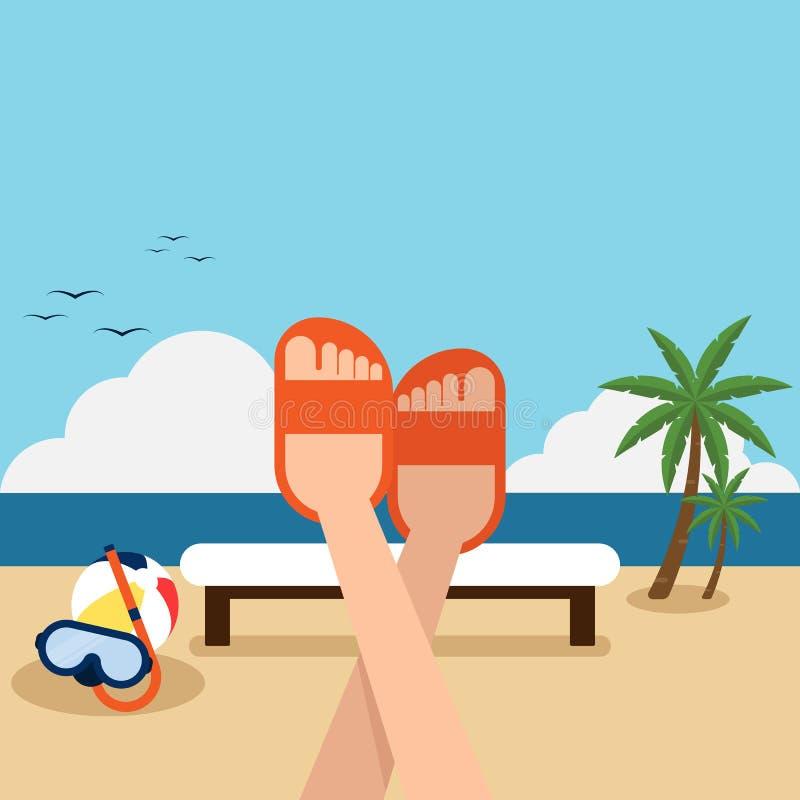 Szczęśliwy wakacje na plażowym płaskim projekcie ilustracji
