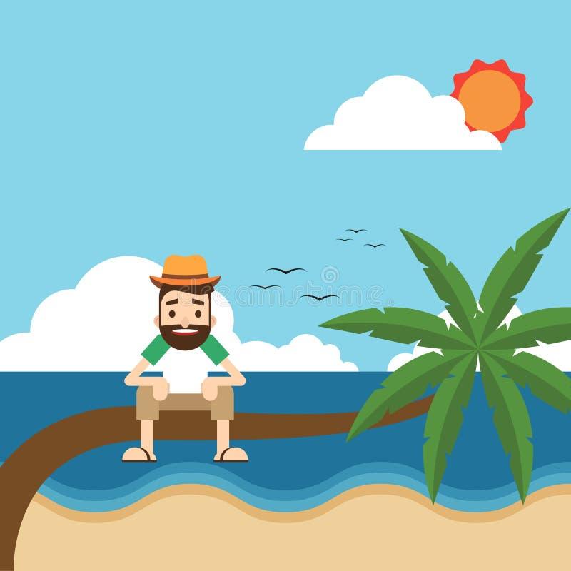 Szczęśliwy wakacje na plażowym płaskim projekta pojęciu royalty ilustracja