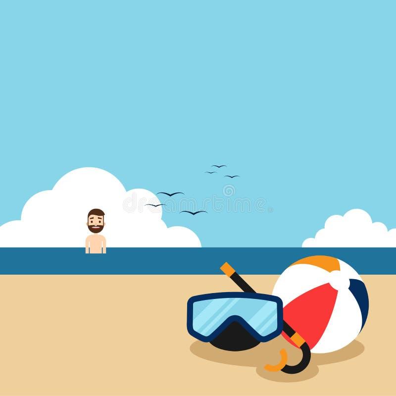 Szczęśliwy wakacje na plażowym płaskim projekta pojęciu ilustracji