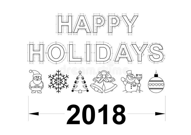 Szczęśliwy wakacje projekt 2018 - odosobniony ilustracji