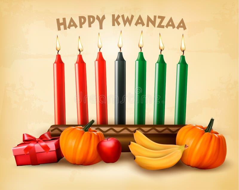 Szczęśliwy Wakacyjny Kwanzaa tło z siedem świeczkami ilustracji