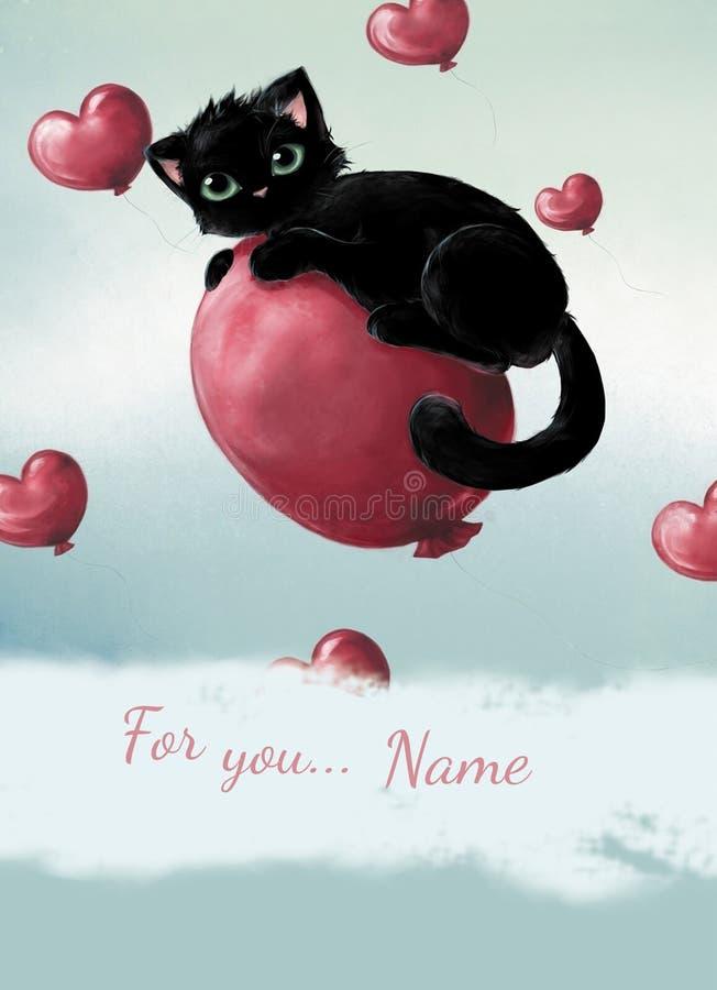 Szczęśliwy walentynka dnia czarny kot przy sercem ilustracji