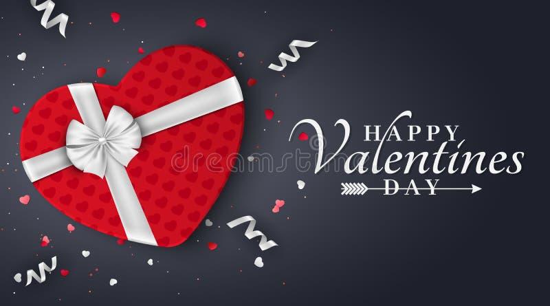 Szczęśliwy walentynka dnia czerwony romantyczny sztandar Prezent Od serca Czerwony prezenta pudełko z białym łękiem na ciemnym tl ilustracja wektor