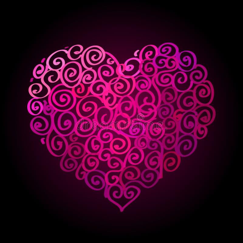 Szczęśliwy walentynka dnia czerwony serce kształtował sieć sztandar ilustracja wektor