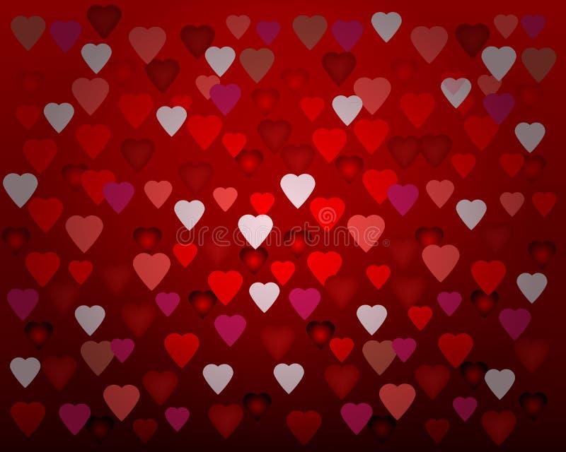 Szczęśliwy walentynka dnia karty serc światło obraz stock