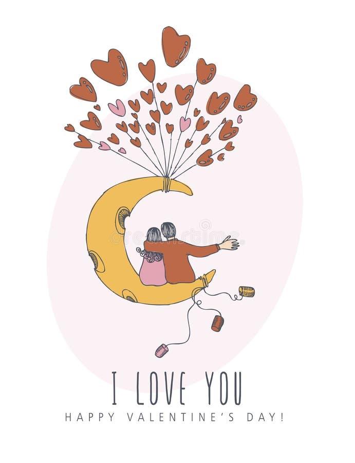 Szczęśliwy walentynka dnia kreatywnie wektorowy kartka z pozdrowieniami z ślicznym charakterem w kreskowej sztuki stylu Plakat z  ilustracja wektor