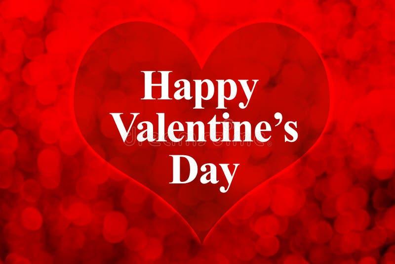 Szczęśliwy walentynka dnia słowo i kierowy kształt na czerwonym bokeh zaświecamy bac obrazy stock
