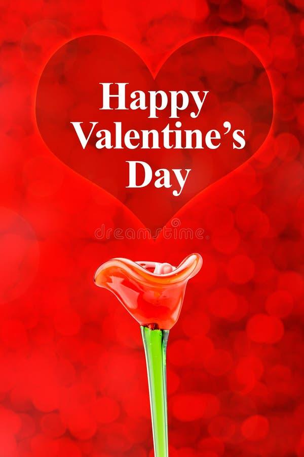 Szczęśliwy walentynka dnia słowo w czerwonym sercu z czerwonym kwiatem na bokeh ilustracji