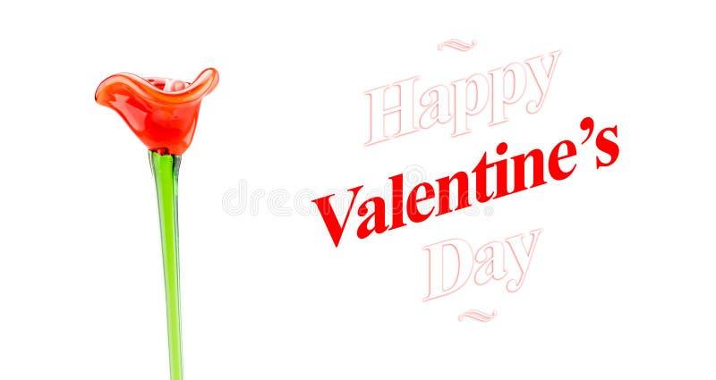 Szczęśliwy walentynka dnia słowo z czerwonym szklanym kwiatem na białym backgro zdjęcie stock