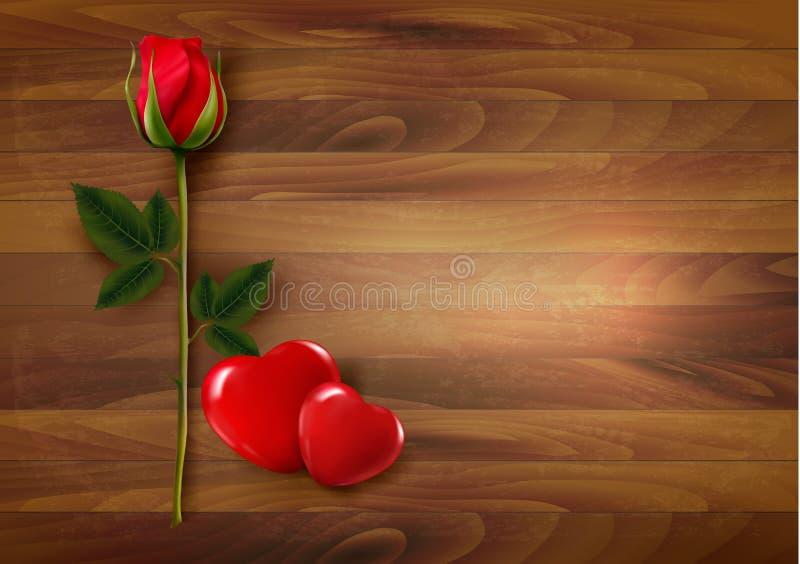 Szczęśliwy walentynka dnia tło Róże z dwa sercami royalty ilustracja