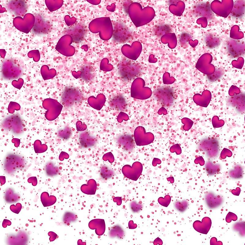 Szczęśliwy walentynka dnia tło z jaśnienie menchii sercem cząsteczki również zwrócić corel ilustracji wektora royalty ilustracja