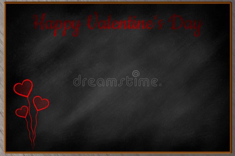 Szczęśliwy walentynka dzień pisać na chalkboard ilustracja wektor