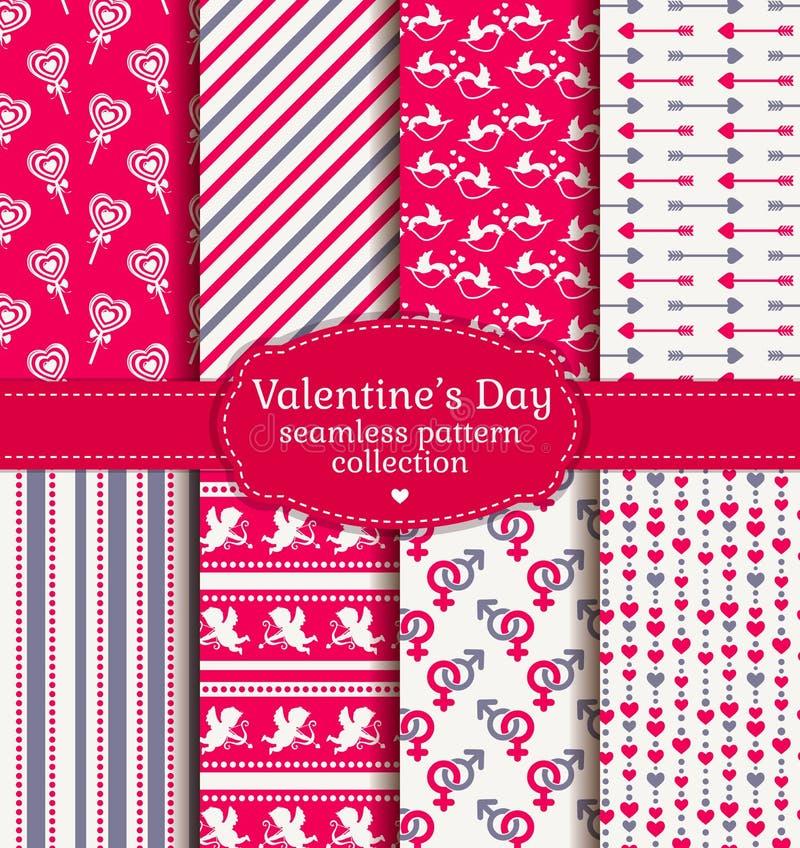 Szczęśliwy walentynka dzień! Set miłość i romantyczny bezszwowy wzór ilustracja wektor