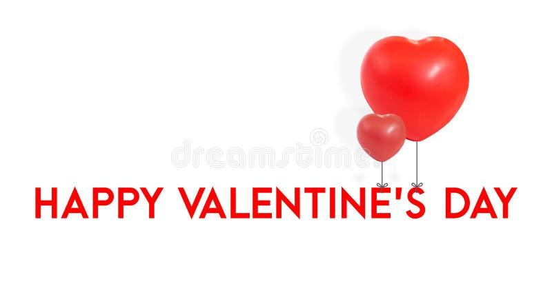 Szczęśliwy walentynka dzień z czerwień balonu kształta kierowym krawatem przy typ, L obraz royalty free