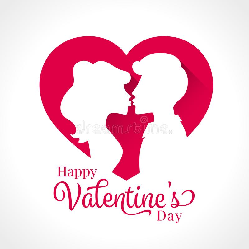 Szczęśliwy walentynka dzień z pary całowaniem w różowego serce znaka wektorowym projekcie royalty ilustracja