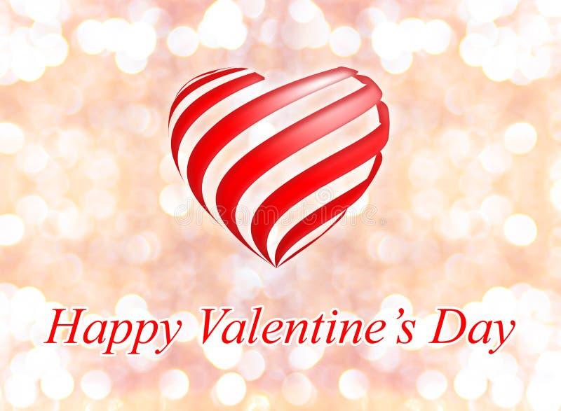 Szczęśliwy walentynka dzień z sercem na różowym bokeh światła tle ilustracji