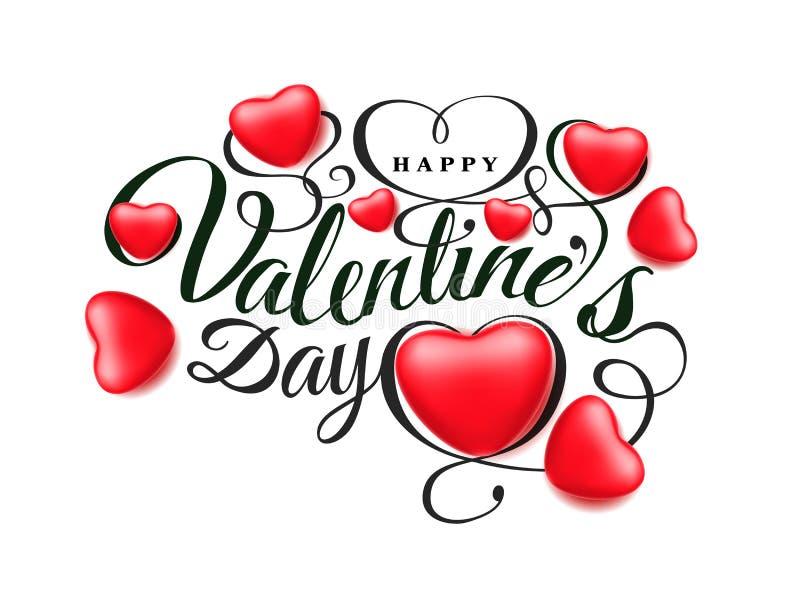 Szczęśliwy walentynki s dzień Chrzcielnica skład z pięknymi 3d realistycznymi czerwonymi sercami odizolowywającymi na białym tle  ilustracji