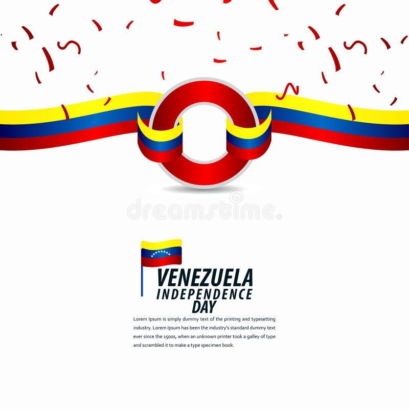 Szczęśliwy Wenezuela dnia niepodległości świętowanie, tasiemkowy sztandar, plakatowa szablonu projekta ilustracja ilustracja wektor