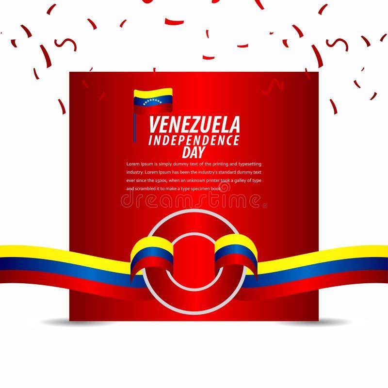 Szczęśliwy Wenezuela dnia niepodległości świętowanie, tasiemkowy sztandar, plakatowa szablonu projekta ilustracja royalty ilustracja