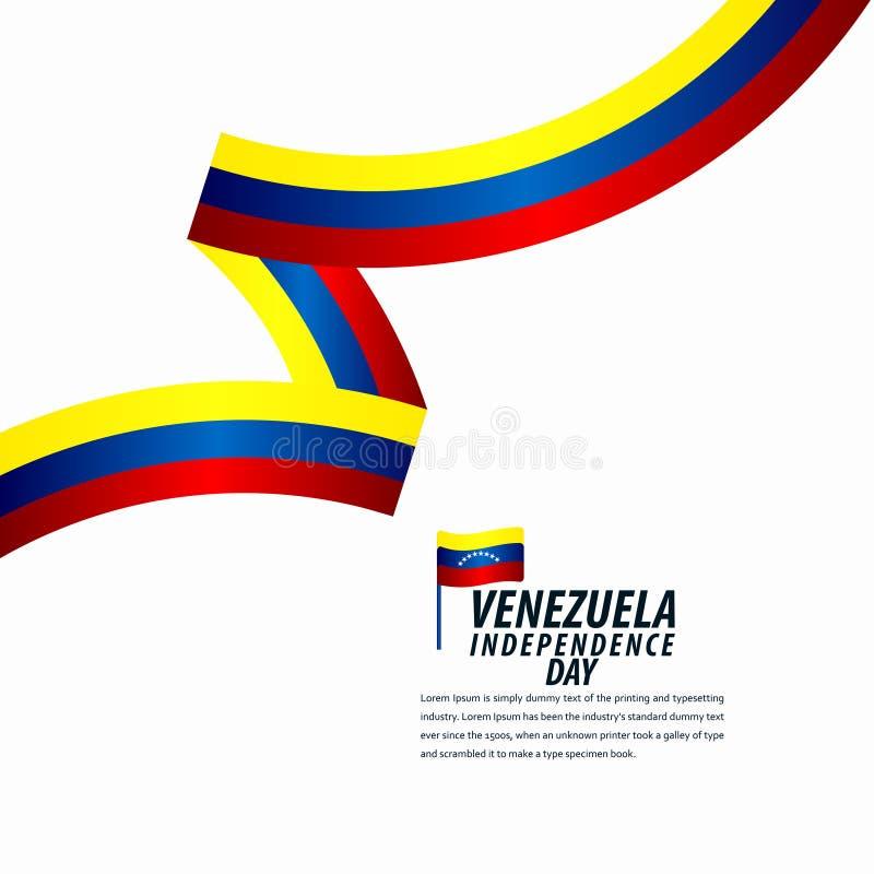 Szczęśliwy Wenezuela dnia niepodległości świętowanie, tasiemkowy sztandar, plakatowa szablonu projekta ilustracja ilustracji