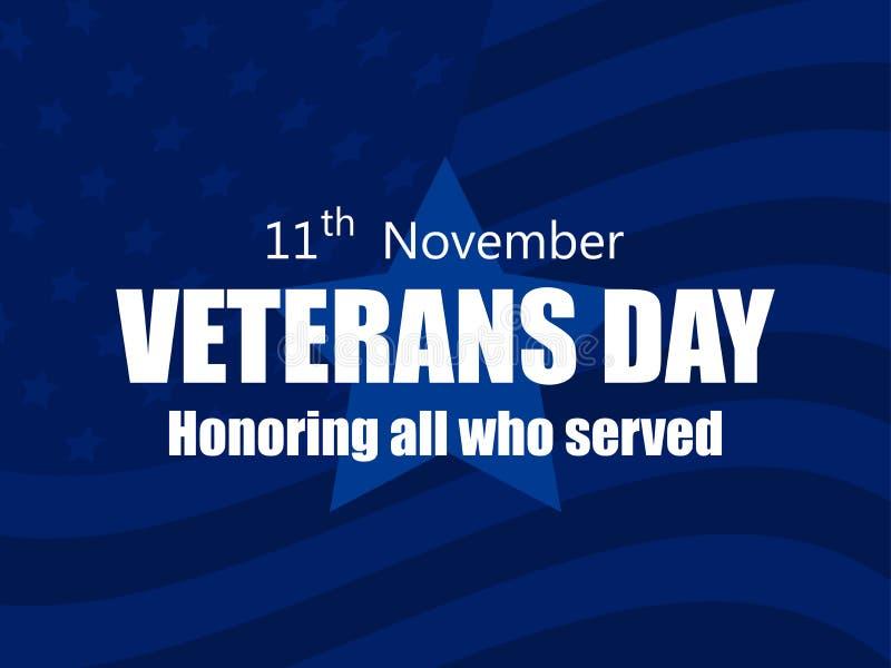 Szczęśliwy weterana dzień 11th Listopad Honorujący wszystko które słuzyć Kartka z pozdrowieniami z flagą usa na tle wektor ilustracja wektor