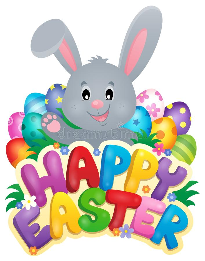 Szczęśliwy wielkanoc znak z królikiem i jajkami royalty ilustracja