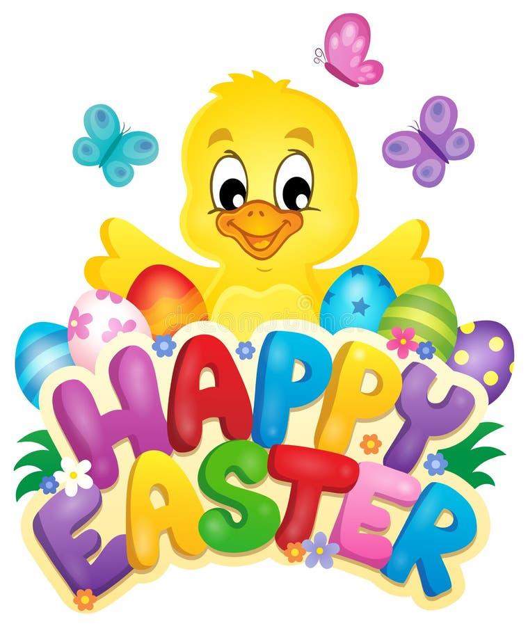 Szczęśliwy wielkanoc znak z kurczakiem i jajkami ilustracji