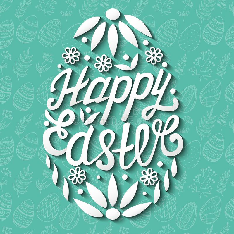 Szczęśliwy Wielkanocnego jajka literowanie na bezszwowym tle ilustracja wektor