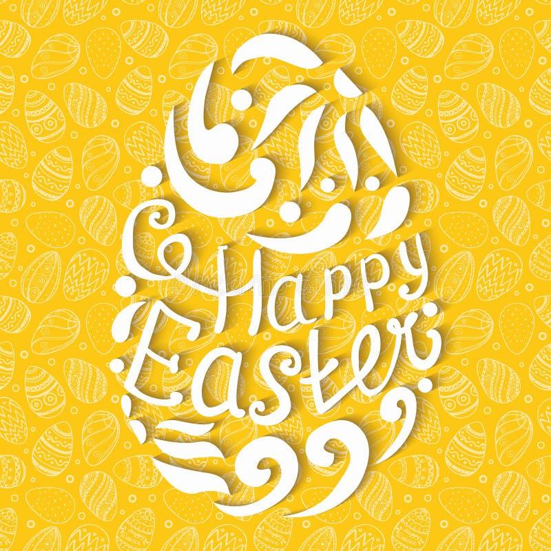 Szczęśliwy Wielkanocnego jajka literowanie na bezszwowym tle royalty ilustracja